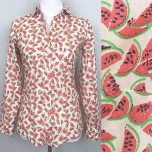 J. Crew Perfect Fit button up watermelon print top